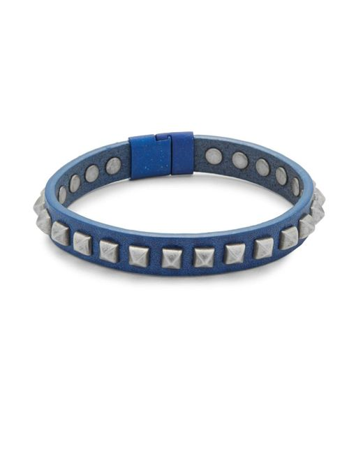 Tateossian | Blue Leather Pyramid Bracelet | Lyst