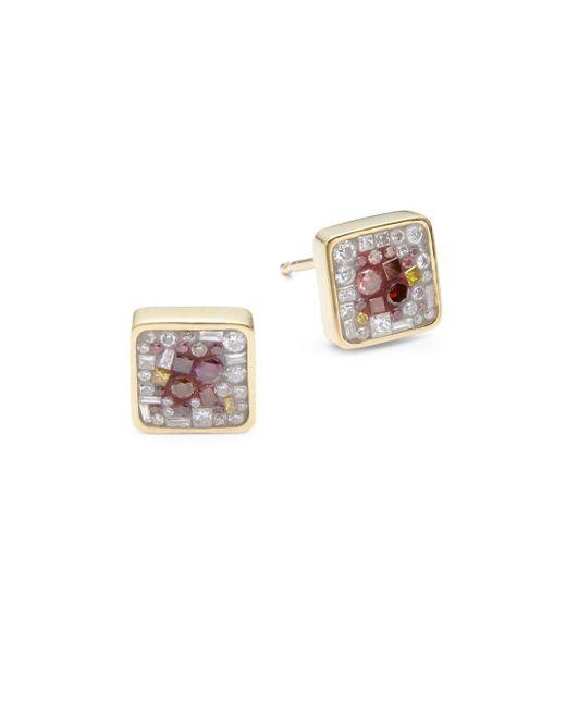 Plevé   Metallic White Diamond, Color Enhanced Diamond & 18k Yellow Gold Galaxy Stud Earrings   Lyst