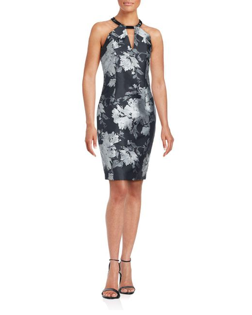 Carmen Marc Valvo | Black Floral Split Neck Sheath Dress | Lyst