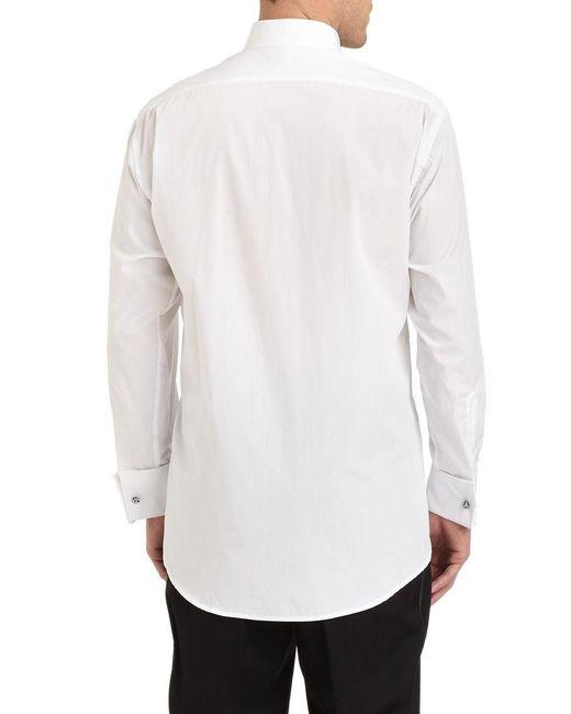 Ike Behar Tuxedo Collar Formal Cotton Shirt In White For
