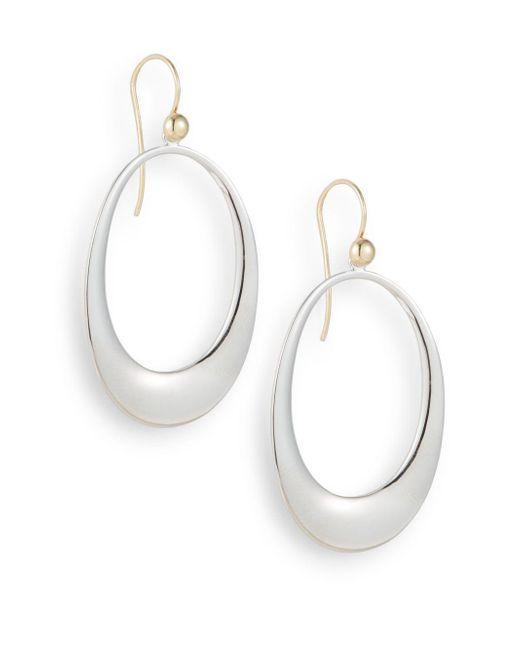 Saks Fifth Avenue | Metallic Sterling Silver Open Hoop Drop Earrings | Lyst