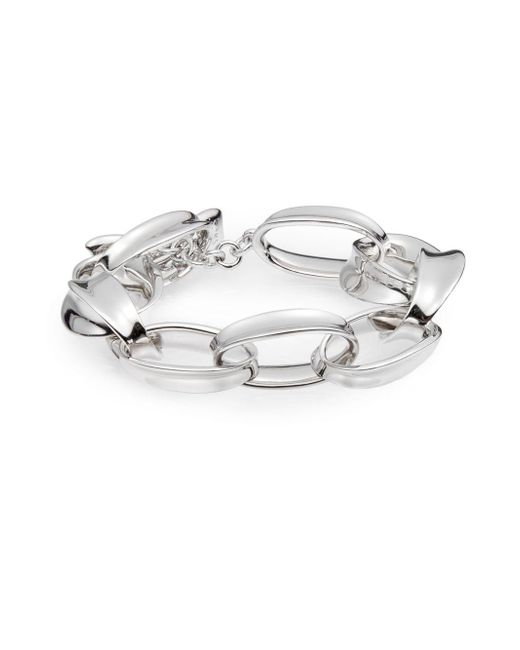 Saks Fifth Avenue | Metallic Sterling Silver Linked Toggle Bracelet | Lyst