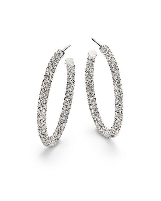 "Adriana Orsini | Metallic Pavà Crystal Hoop Earrings/1.25"" | Lyst"