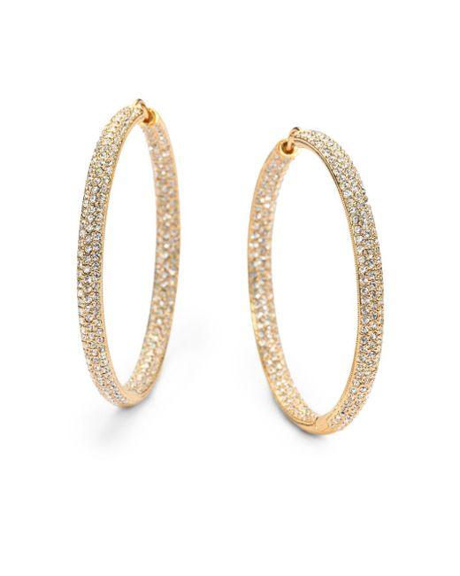 "Adriana Orsini | Metallic Pavà Crystal & 18k Goldplated Inside-outside Large Hoop Earrings/1.75"" | Lyst"