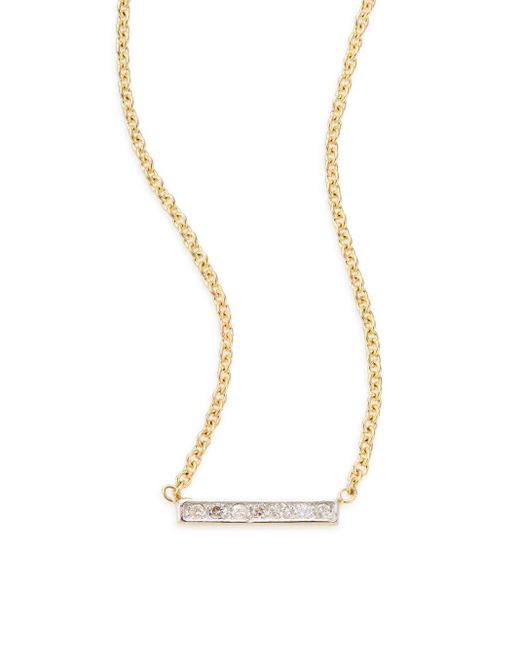 Kacey K | Metallic Diamond & 14k Gold Bar Necklace | Lyst