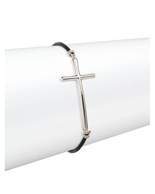 Saks Fifth Avenue | Metallic Sterling Silver & Leather Cross Bracelet | Lyst