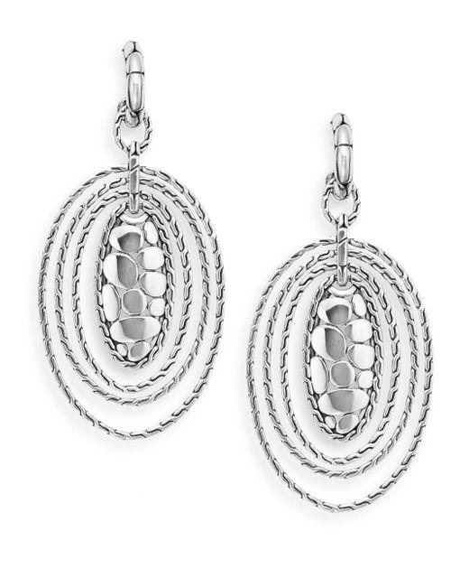 John Hardy | Metallic Sterling Silver Oval Drop Earrings | Lyst