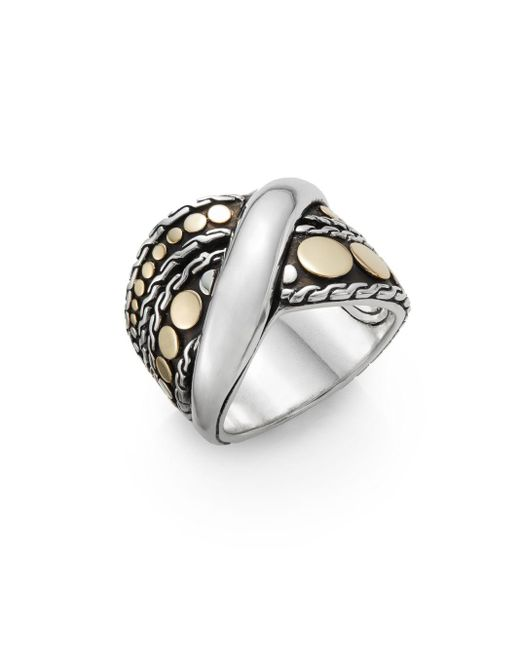 John Hardy | Metallic Dot Menari 18k Yellow Gold & Sterling Silver Twist Ring | Lyst