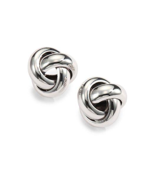 Saks Fifth Avenue | Metallic Sterling Silver Knot Stud Earrings | Lyst