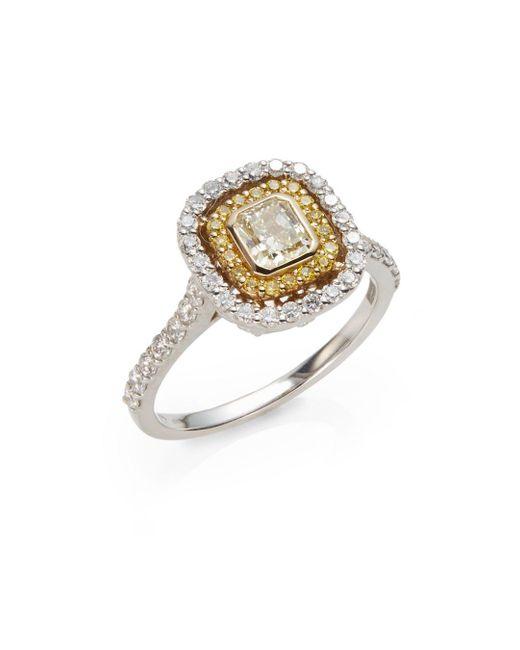 Saks Fifth Avenue | Metallic 1.25 Tcw Certified Diamond, 18k White & Yellow Gold Ring | Lyst