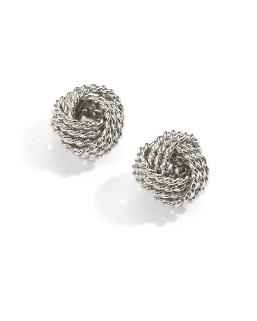 Saks Fifth Avenue | Metallic Sterling Silver Twisted Knot Stud Earrings | Lyst
