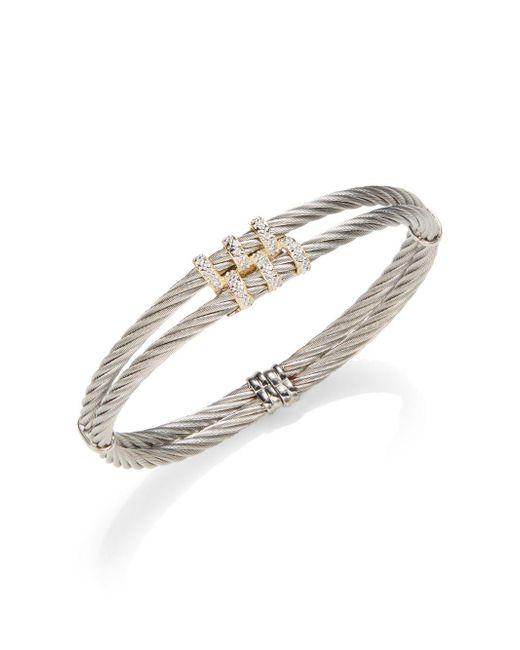 Alor | Metallic Classique Diamond & 18k Yellow Gold Double Cable Bracelet | Lyst