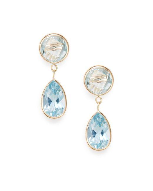 Saks Fifth Avenue   Sky Blue Topaz & 14k Yellow Gold Earrings   Lyst