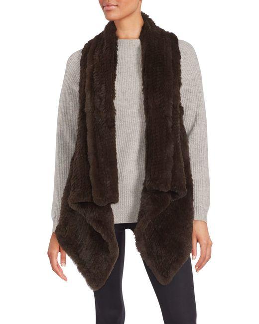 Saks Fifth Avenue | Brown Asymmetrical Rabbit Fur Vest | Lyst