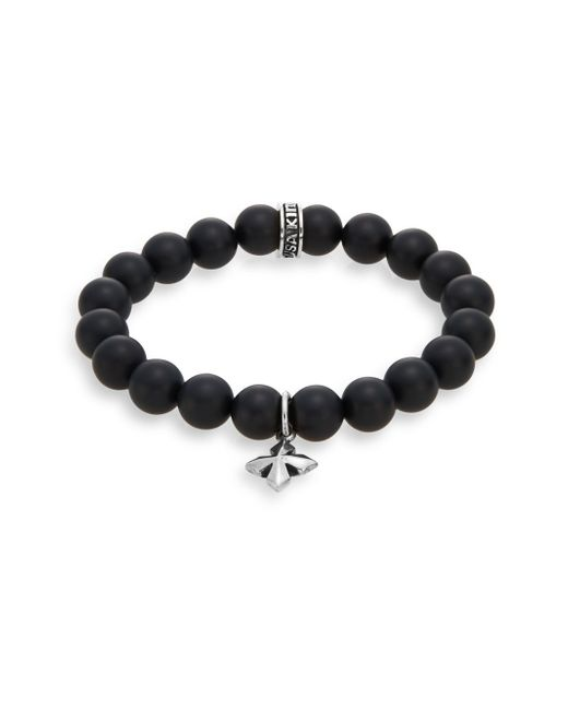 King Baby Studio | Black Onyx & Sterling Silver Beaded Cross Charm Bracelet | Lyst