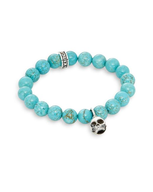 King Baby Studio | Blue Turquoise & Sterling Silver Beaded Skull Charm Bracelet | Lyst