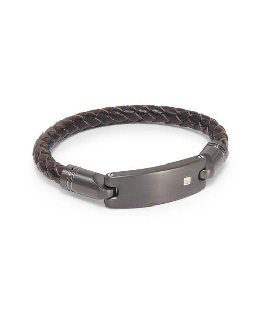 Saks Fifth Avenue | Brown 14k Gold/diamond & Leather Bracelet for Men | Lyst