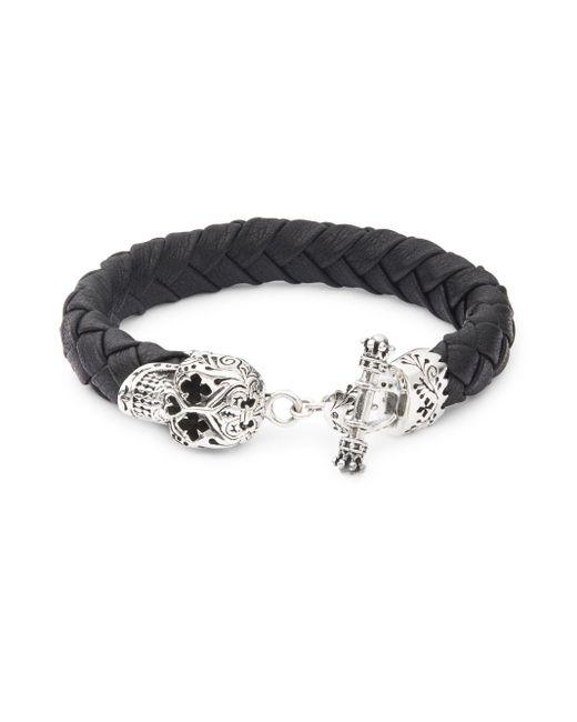 King Baby Studio | Metallic Sterling Silver & Leather Braided Skull Bracelet for Men | Lyst