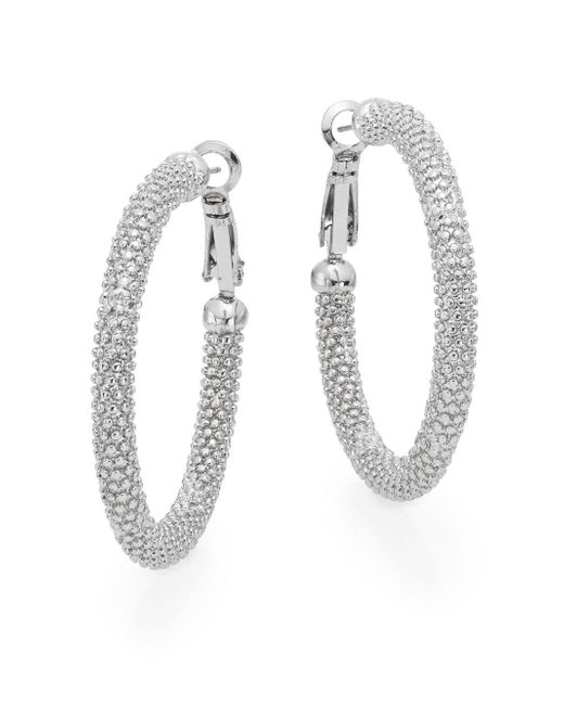 Ak Anne Klein | Metallic Anne Klein Textured Hoop Earrings/1.5"