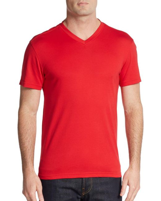 Saks Fifth Avenue | Red Slim V-neck Pima Cotton Tee for Men | Lyst