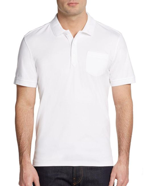 Saks Fifth Avenue | White Slim Ice Cotton Polo Shirt for Men | Lyst