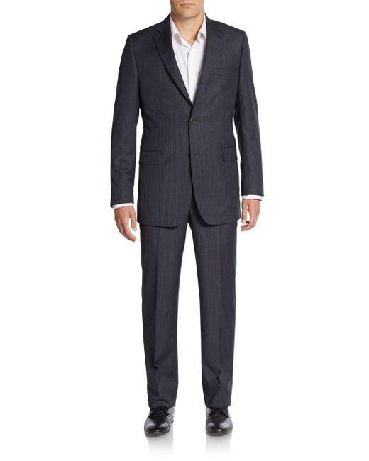 Saks Fifth Avenue - Black Regular-fit Pinstriped Wool Suit for Men - Lyst