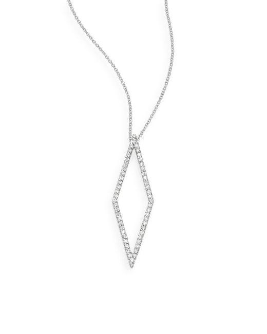 Effy - Metallic Diamond & 14k White Geometric Pendant Necklace - Lyst