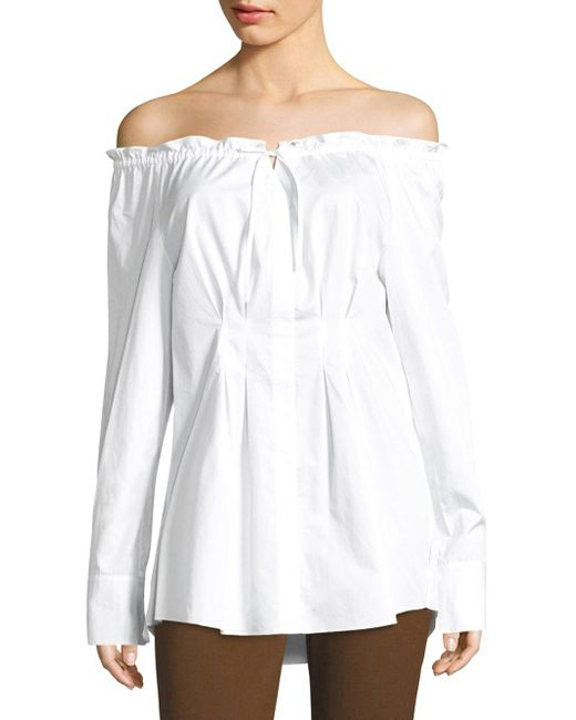 587b884733f34e Lyst - Tibi Ruched Off-the-shoulder Shirt in White - Save ...