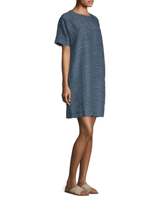 71455e0cc1 Lyst - Eileen Fisher Striped Linen Tunic Dress in Blue - Save 1%