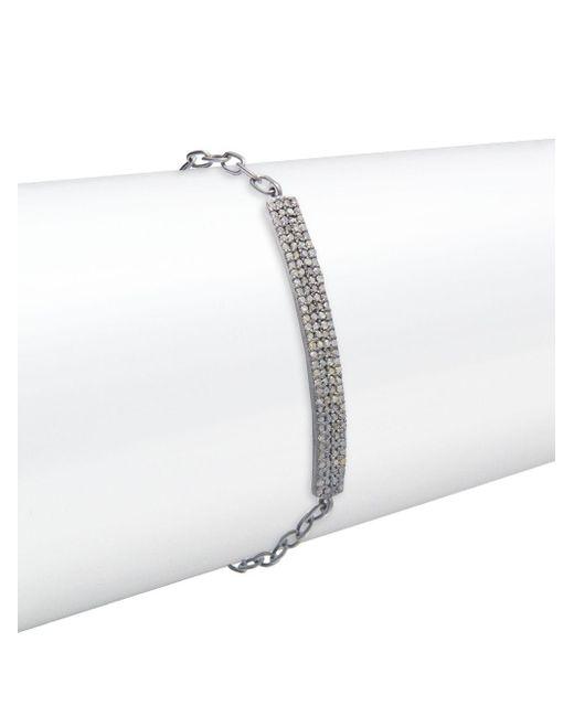 Bavna - Metallic Champagne Diamond & Sterling Silver Bracelet - Lyst