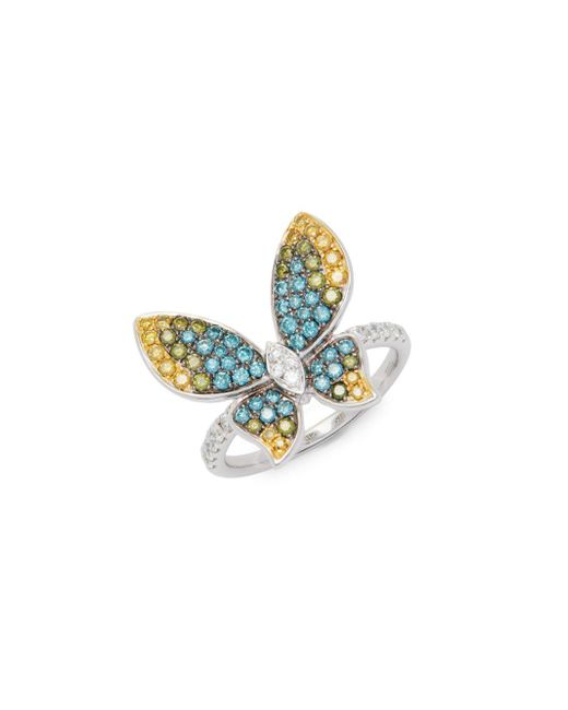 Effy - Metallic Butterfly Diamond & 14k White Gold Ring - Lyst