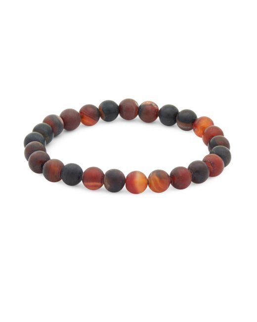 Saks Fifth Avenue - Red Matte Orange Agate Beaded Bracelet - Lyst