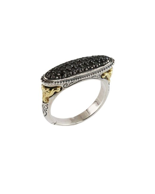 Konstantino - Asteri Elliptical Pavé Black Diamond, 18k Yellow Gold And Sterling Silver Ring - Lyst