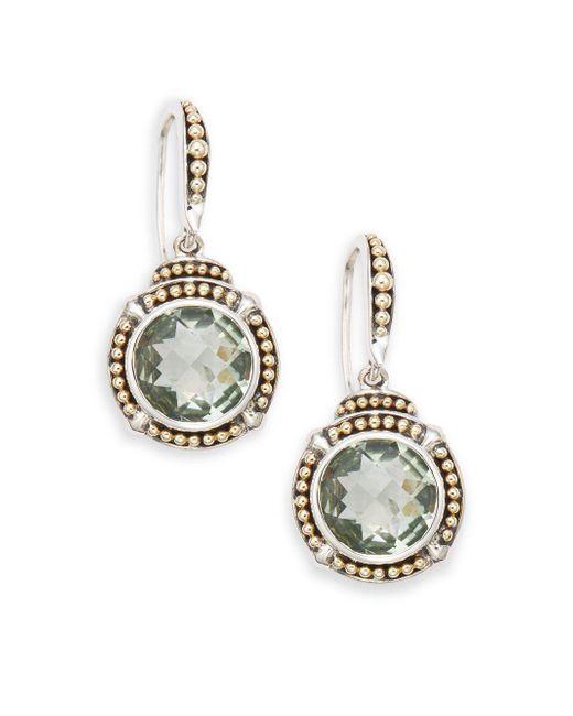 Effy - Metallic Green Amethyst, Sterling Silver & 18k Yellow Gold Drop Earrings - Lyst