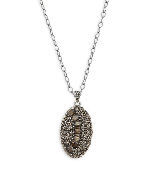 Bavna   Metallic Champagne Diamond, Smokey Quartz & Sterling Silver Necklace   Lyst