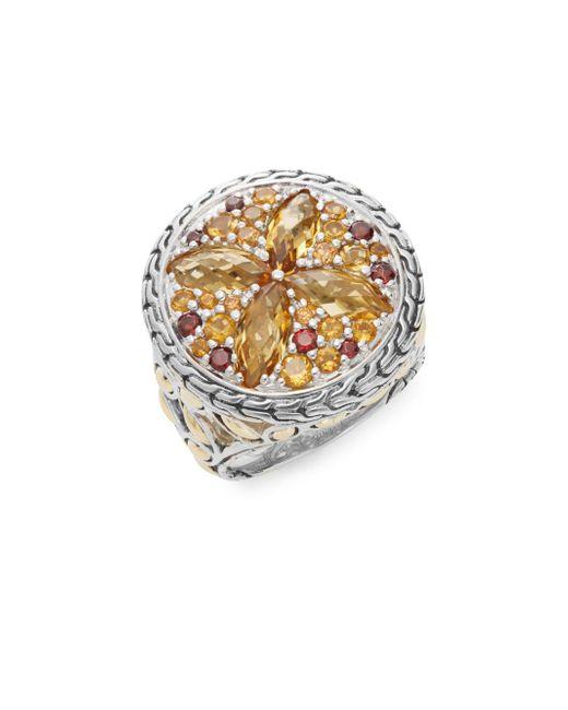 John Hardy - Metallic Batu Kawung Citrine, Garnet, Spessartine, 18k Yellow Gold & Sterling Silver Ring - Lyst