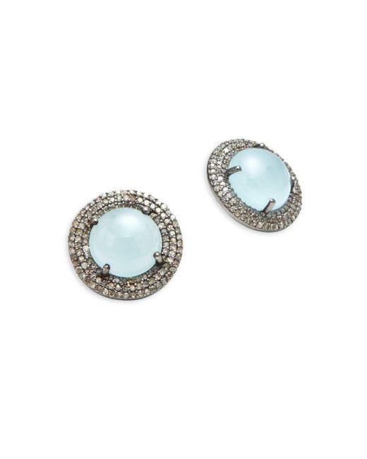 Bavna | Metallic Pave Diamonds & Aquamarine Stud Earrings | Lyst