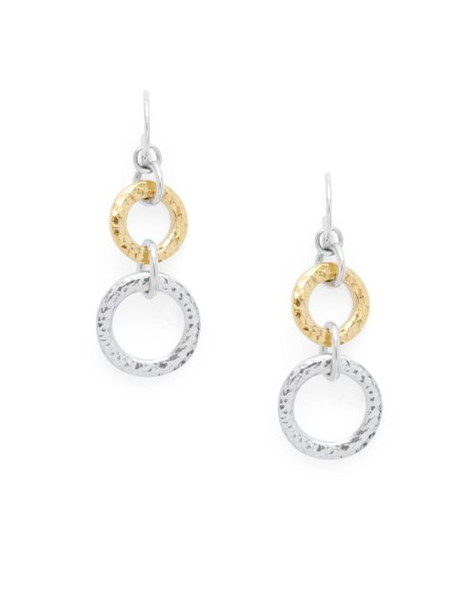 Gurhan | Metallic 24k Gold & Sterling Silver Circle Drop Earrings | Lyst