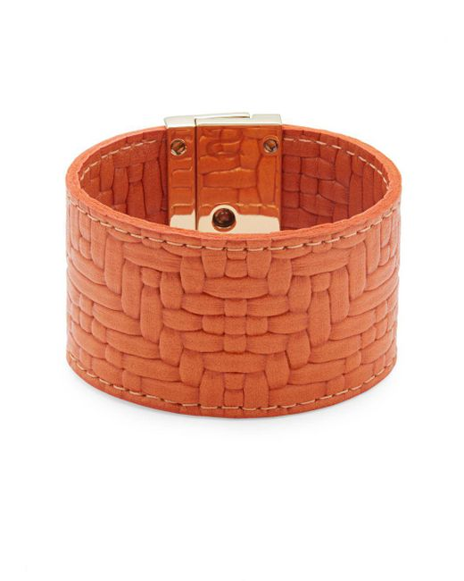 CC SKYE - Orange Embossed-leather Wrap Bracelet - Lyst