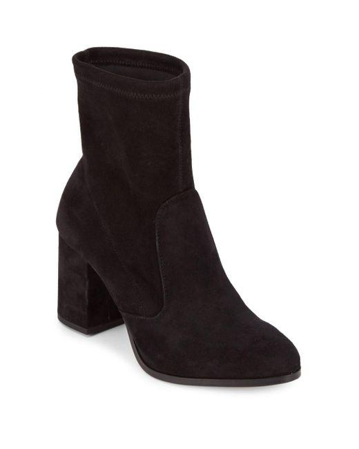 Saks Fifth Avenue - Black Lady Suede Block Heel Booties - Lyst