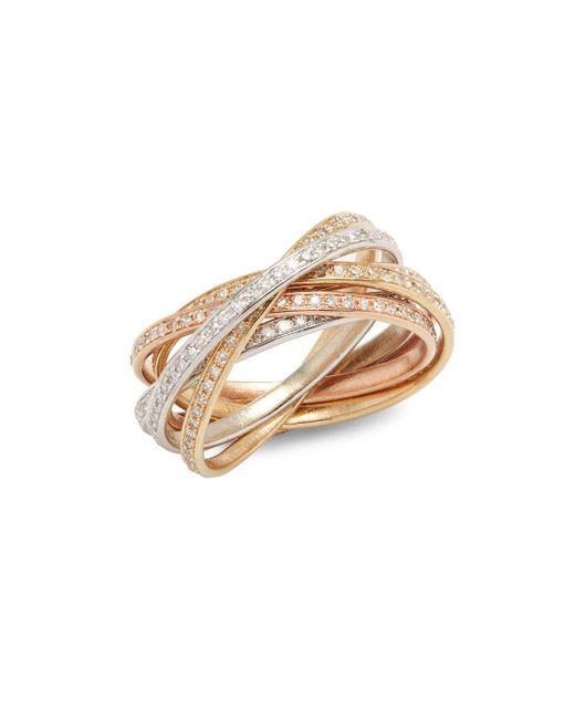 Effy | Metallic Diamond & 14k White Yellow & Rose Gold Ring | Lyst