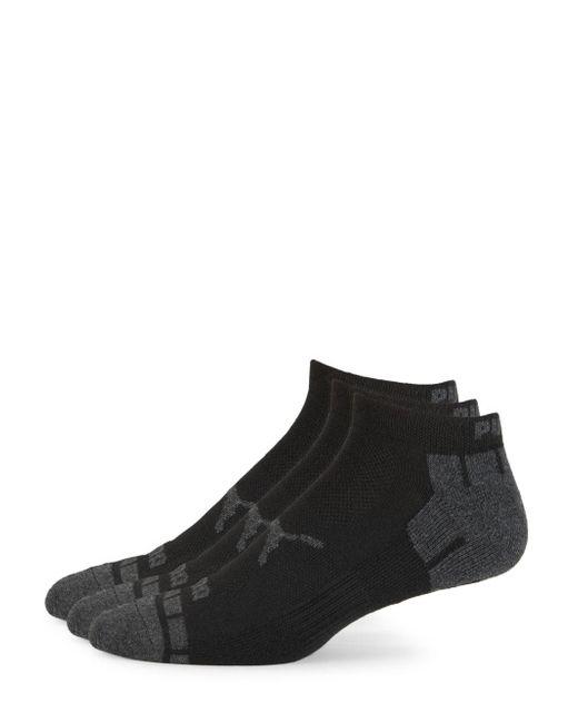 PUMA - Black 3-pack Logo Terry Low-cut Socks for Men - Lyst
