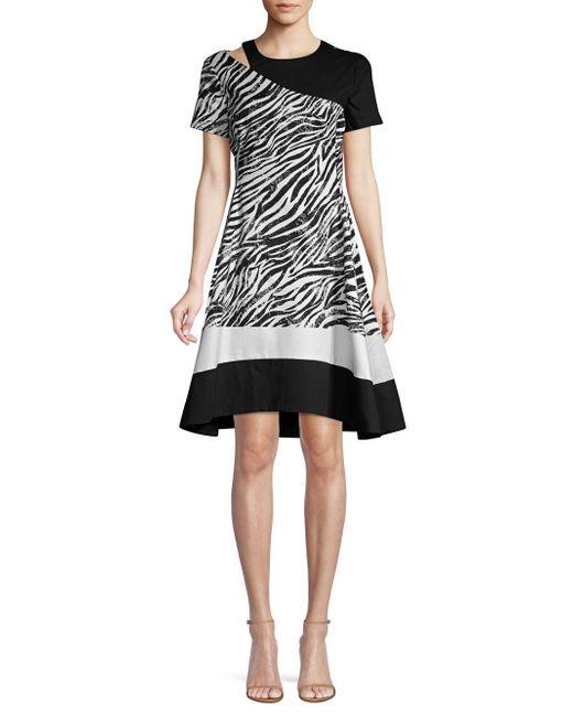 Donna Karan - Black Zebra Print Cut Out Striped Fit-&-flare Dress - Lyst