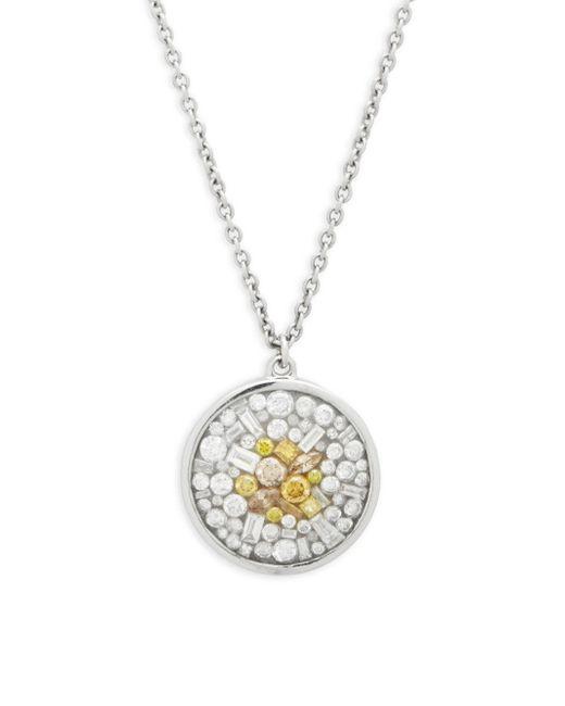 Plevé - Diamond & 18k White Gold Sunburst Circle Pendant Necklace - Lyst