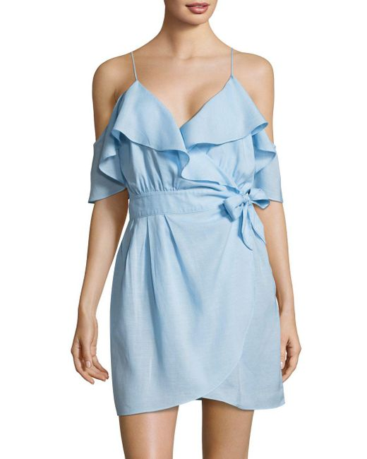 6 Shore Road By Pooja - Blue Cold-shoulder Ruffle Tie Dress - Lyst