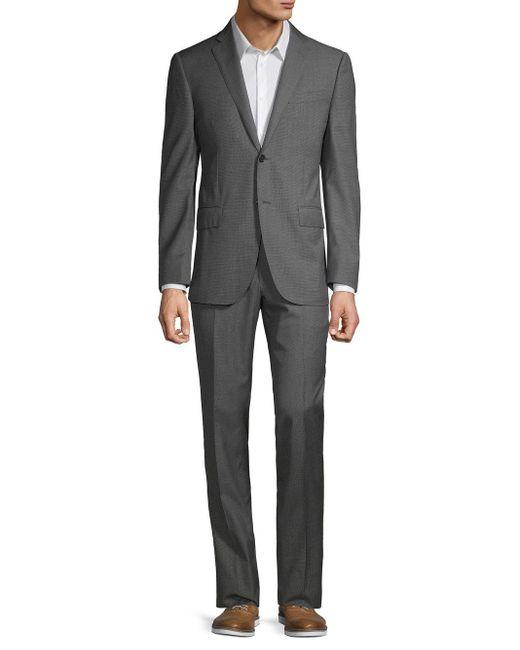 Corneliani Gray Classic-fit Textured Wool Suit for men