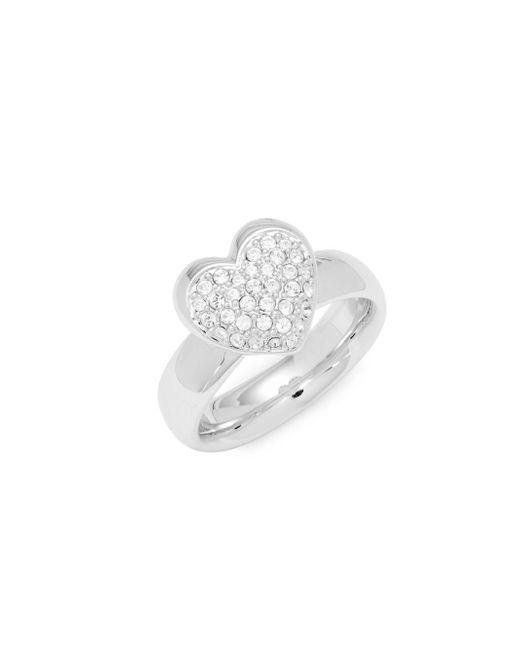 Swarovski - Metallic Pavé Crystal Heart Ring - Lyst