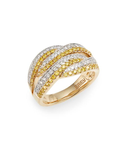 Effy - Metallic Yellow & White Diamond, 14k Yellow & White Gold Ring - Lyst