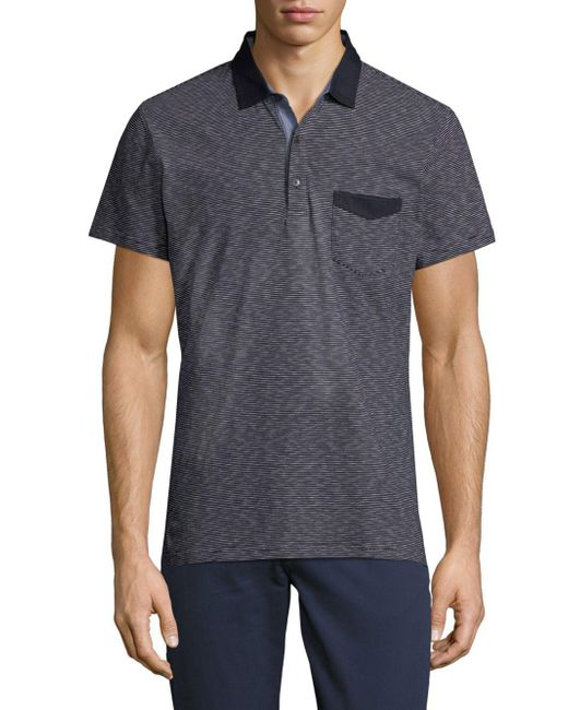 Saks Fifth Avenue - Blue Striped Chambray Polo for Men - Lyst