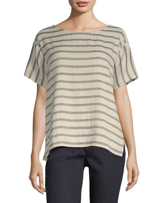 Eileen Fisher - Natural Stripe Ballet Neck Top - Lyst
